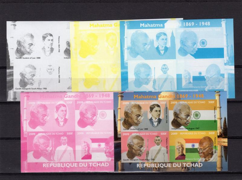 Chad 2009 Mahatma Gandhi Sheetlet containing 4 values Progressive Proofs (4+1)