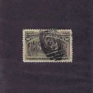 SCOTT# 237 USED 10c COLUMBIAN COLUMBUS, DUPLEX NUMERAL 12 CANCEL, PSAG CERT