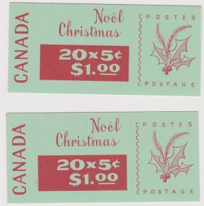 Canada - USC#BK72c & BK72d - 1968 5c Christmas Complete Booklets