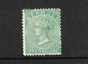 BERMUDA 1865-03  1/- GREEN  QV  FU SIGNED P14x12 1/2  SG 11