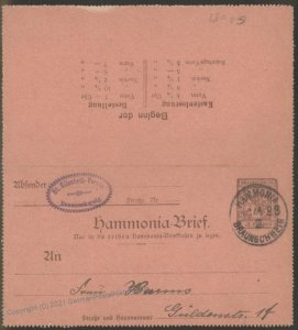 Germany 1898 Braunschweig Local Private Stadtpost Kartenbrief Cover USED 102401