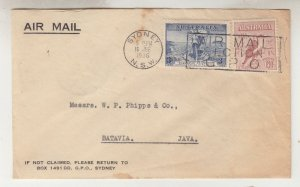 AUSTRALIA, 1936 Airmail cover, Sydney to Neth. East Indies, 3d. Cable, 6d. Kooka