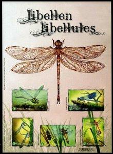 HERRICKSTAMP NEW ISSUES BELGIUM Dragonflies Sheetlet of 5 Different