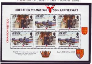 Jersey Sc 715a 1995 Liberation stamp booklet pane mint Nh