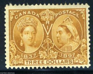CANADA SCOTT#63  SG#138  $3 JUBILEE  MINT HINGED FULL ORIGINAL GUM