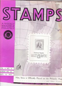 Stamps Weekly Magazine of Philately September 9, 1933 Stamp Collecting Magazine