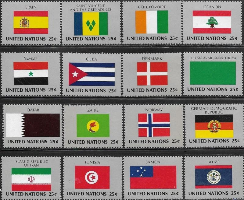 United Nations 1988 New York Flags of the Member Nations SC# 528-543 MNH