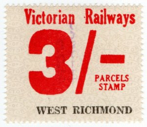 (I.B) Australia - Victoria Railways : Parcels Stamp 3/- (West Richmond)