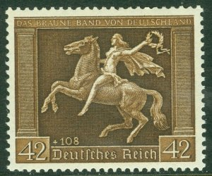 EDW1949SELL : GERMANY 1938 Sc #B119 Horses Very Fine, Mint Never Hinged Cat $125