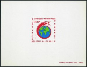 New Caledonia 575 deluxe sheet,MNH.Michel 825. Red Cross,Red Crescent,125.1988.