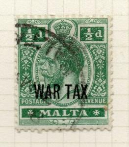 Malta 1917-18 Early Issue Fine Used 1/2d. War Optd 321539