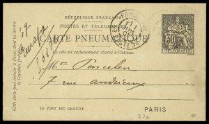 fr025 France Carte Pneumatique Telegraphe Card 30 centimes used 1901