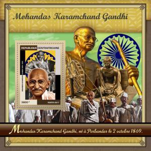 Central African Republic 2017 MNH Mahatma Gandhi 1v S/S World Leaders Stamps