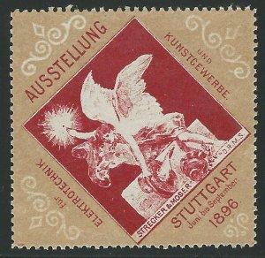 Stuttgart, Germany, 1896 Arts & Crafts Expo, Poster Stamp, Cinderella Label