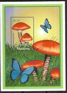 #8813 MALDIVES 2001 FLORA MUSHROOMS S/SHEET  YV BL 461 MNH