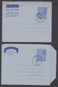 Aden H&G FG6, FG7 used 1953 & 1955 50c blue QEII & Map Aerogrammes, VF pair
