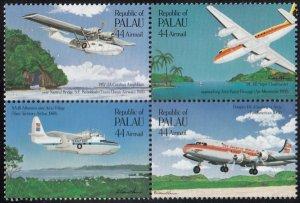 Palau 1985 MNH Sc C13a 44c Trans-Pacific Airmail ann. Block of 4
