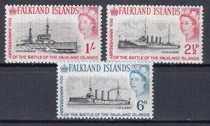 Falkland Islands, Sc 150-152, MNH, 1964, 50th Anniv. of battle of the Falklands