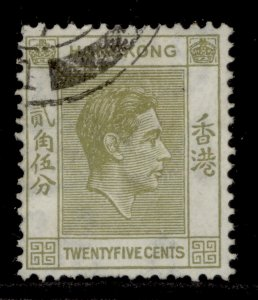 HONG KONG GVI SG150, 25c pale yellow-olive, FINE USED.