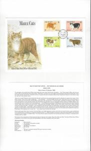 Isle of Man 380-83 Manx Cats 1989  Official FDC