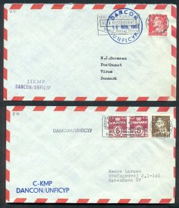 DENMARK 1967, Danish UN Force in CYPRUS, 2 covers w/different markings, VF