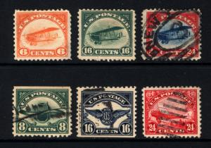 #C1-#C6 6c-24c 1918-23 Air Post Used Set of 6 Items