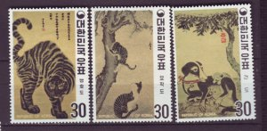 J22034 Jlstamps 1970 south korea mh set #718-20 art, 2 scans