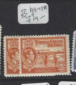 TURKS AND CAICOS (P2203B)  KGVI   2 1/2D  SG 199-199A     MOG