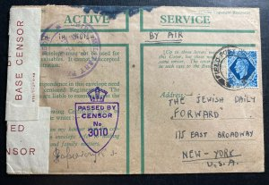1945 Field Post England OAS Censored Airmail Cover To NEW YORK USA