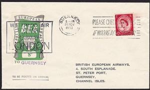 GB 1953 BEA 8d airmail stamp on flown cover London to Guernsey..............8998