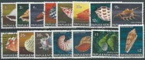 PAPUA NEW GUINEA 1968 Shells definitive set fine used......................50081