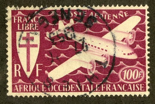FRENCH WEST AFRICA C3 USED BIN $1.00 AIRPLANE