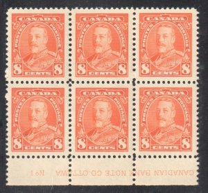 Canada #222 MINT NH - LOWER BLOCK OF 6 Plate No 1