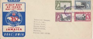 Jamaica BOAC 1955 Trinidad West Indies Large Stamps Cover ref 22859