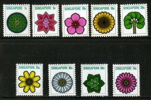SINGAPORE 189-97 MNH SHORT SET SCV $7.25 BIN $2.50 FLOWERS