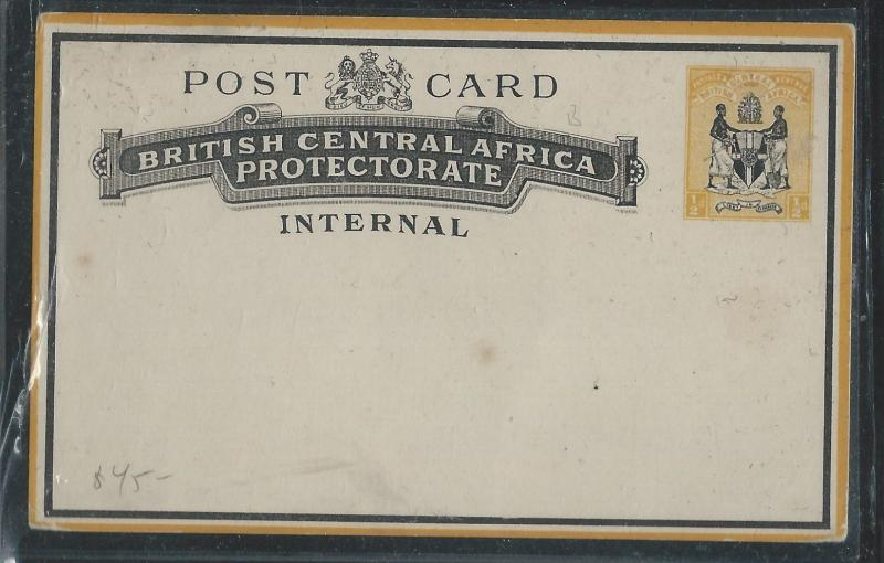 BRITISH CENTRAL AFRICA (P1110B) 1/2D INTERNAL PSC UNUSED