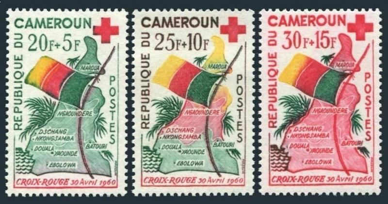 Cameroun B30-B32,MNH.Michel 326-328. Red Cross 1961.Map,Flag.