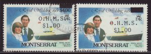 1982 Montserrat $1 On $4 Official With Variety Fine Used SGO58var
