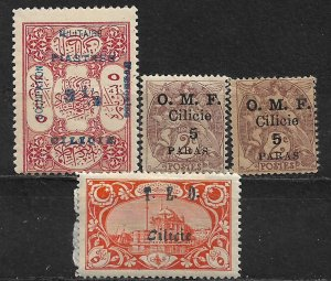 COLLECTION LOT OF 4 CILICIA 1916+ STAMPS CLEARANCE