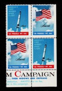 AMVET 1961-1962 AMERICANISM FLAG SPACE SO PROUDLY WE HAIL BLOCK OF 4 MNH-OG