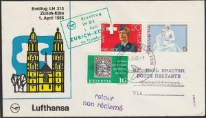 SWITZERLAND 1965 Lufthansa first flight to Germany..........................H281