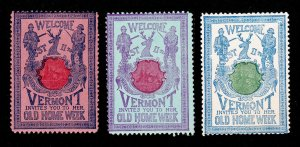 REKLAMEMARKE POSTER STAMPS VERMONT INVITES YOU TO HER OLD HOME WEEK 1901 MNH-OG