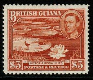 BRITISH GUIANA SG319 1945 $3 RED-BROWN MTD MINT
