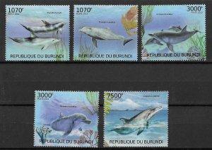 Burundi MNH Set Of 5 Dolphins Marine Life 2012