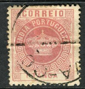 PORTUGAL;  INDIA 1880s early classic Crown Type issue used 1t. value