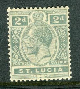 ST.LUCIA; 1921 early GV issue fine Mint hinged Shade of 2d. value