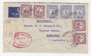 IRAQ, 1947 Registered Airmail cover, Basrah to Australia, 154f.