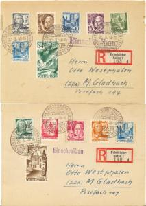 Wuerttemberg  set complete on 2 reg'd FDC B/S  VF