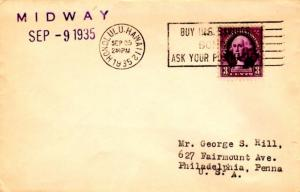 Midway 3c Washington 1935 Midway to Philadelphia, Penn. via Honolulu, Hawaii.