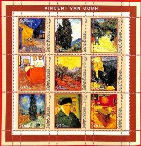 A0880 - GUINEA-BISSAU - ERROR  MISSPERF SHEET - ART  : Vincent van Gogh 2001